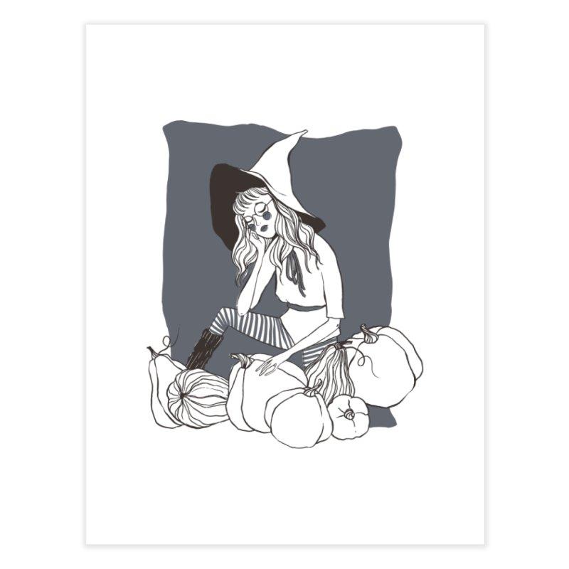 Pumpkin Dreaming (Gray) Home Fine Art Print by NyxThat's Artist Shop