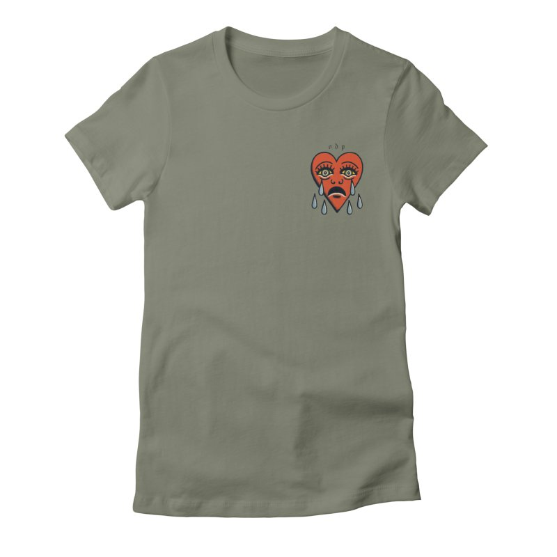 CRYING HEART Women's Fitted T-Shirt by ODP