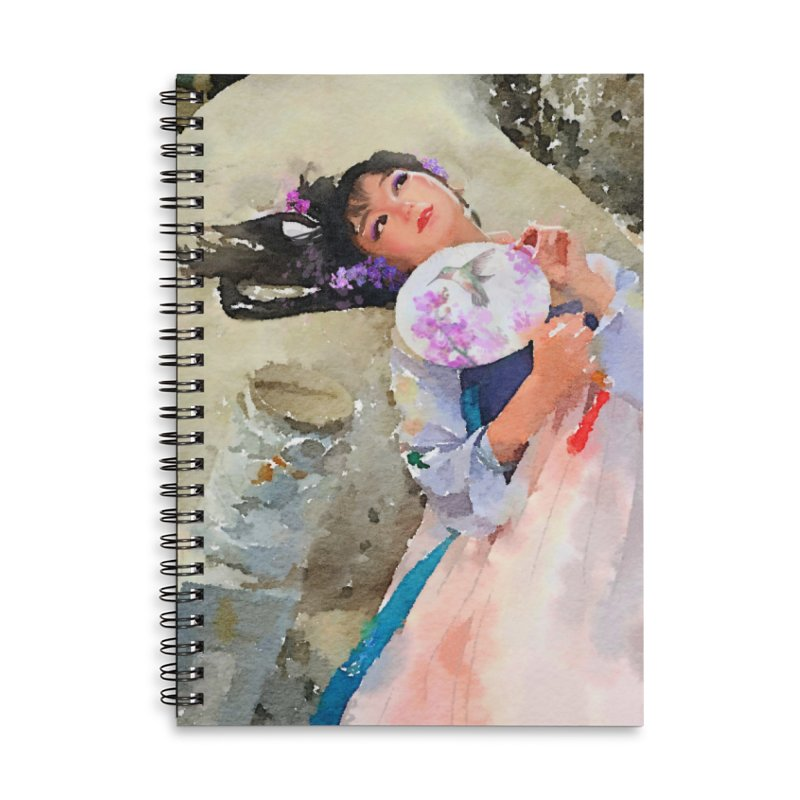 Hui Zi Dreams of being a princess one day Accessories Lined Spiral Notebook by Draw Juice Custom Art Prints