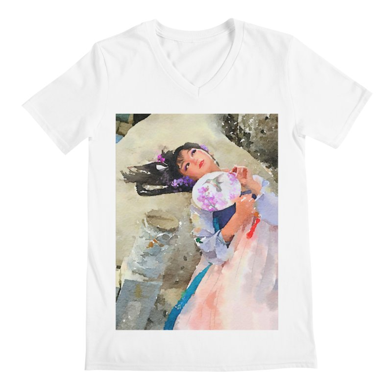 Hui Zi Dreams of being a princess one day Men's Regular V-Neck by Draw Juice Custom Art Prints