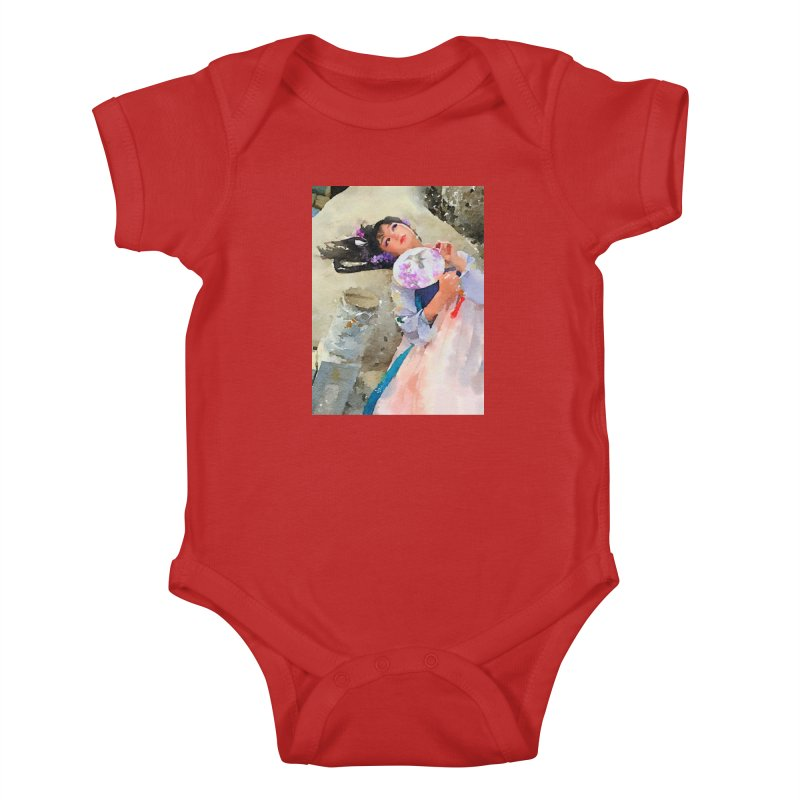 Hui Zi Dreams of being a princess one day Kids Baby Bodysuit by Draw Juice Custom Art Prints