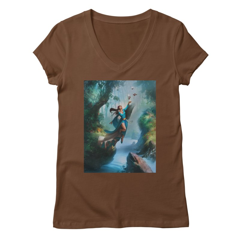 Wind Walker Women's Regular V-Neck by Draw Juice Custom Art Prints