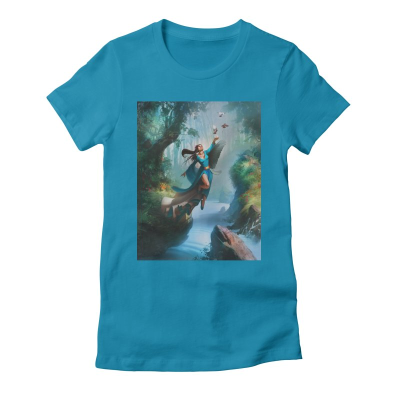 Wind Walker Women's Fitted T-Shirt by Draw Juice Custom Art Prints
