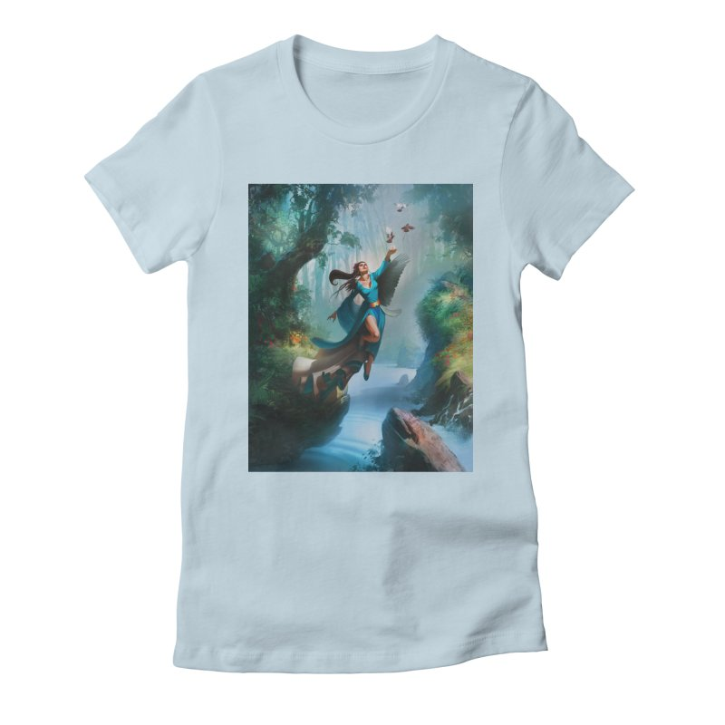 Wind Walker Women's Fitted T-Shirt by Draw Juice Custom Art Prints