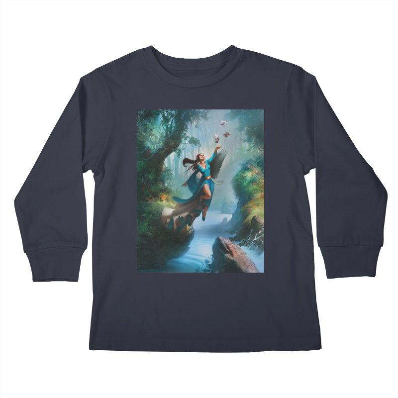 Wind Walker Kids Longsleeve T-Shirt by Draw Juice Custom Art Prints