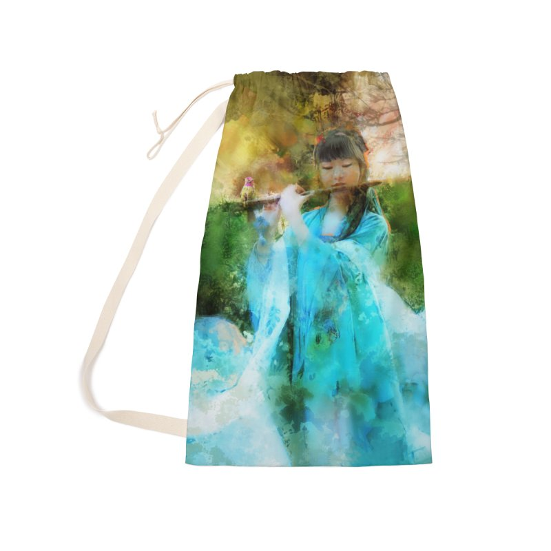 Hui Zi plays flute for the Super Being of mercy and grace Accessories Laundry Bag Bag by Draw Juice Custom Art Prints