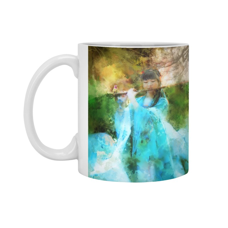 Hui Zi plays flute for the Super Being of mercy and grace Accessories Standard Mug by Draw Juice Custom Art Prints