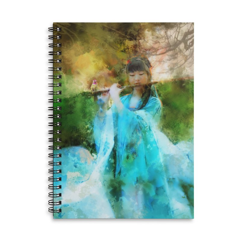 Hui Zi plays flute for the Super Being of mercy and grace Accessories Lined Spiral Notebook by Draw Juice Custom Art Prints