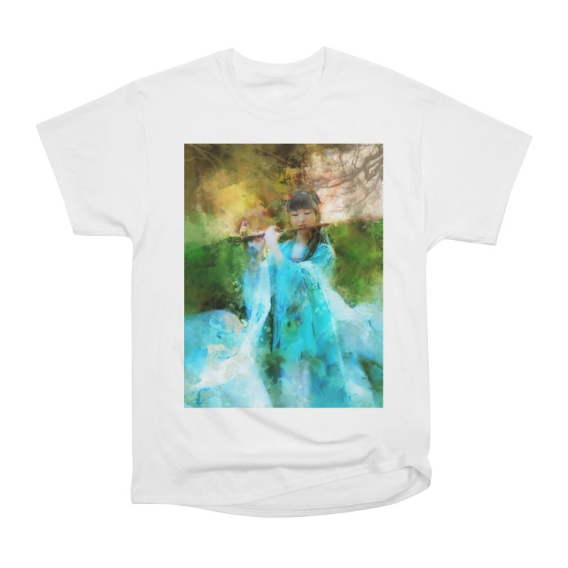 Hui Zi plays flute for the Super Being of mercy and grace Women's Heavyweight Unisex T-Shirt by Draw Juice Custom Art Prints