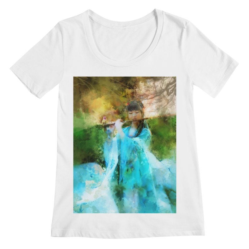 Hui Zi plays flute for the Super Being of mercy and grace Women's Regular Scoop Neck by Draw Juice Custom Art Prints