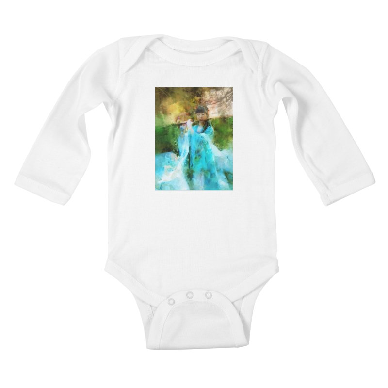 Hui Zi plays flute for the Super Being of mercy and grace Kids Baby Longsleeve Bodysuit by Draw Juice Custom Art Prints