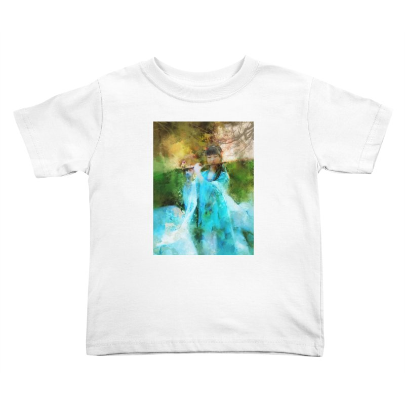 Hui Zi plays flute for the Super Being of mercy and grace Kids Toddler T-Shirt by Draw Juice Custom Art Prints