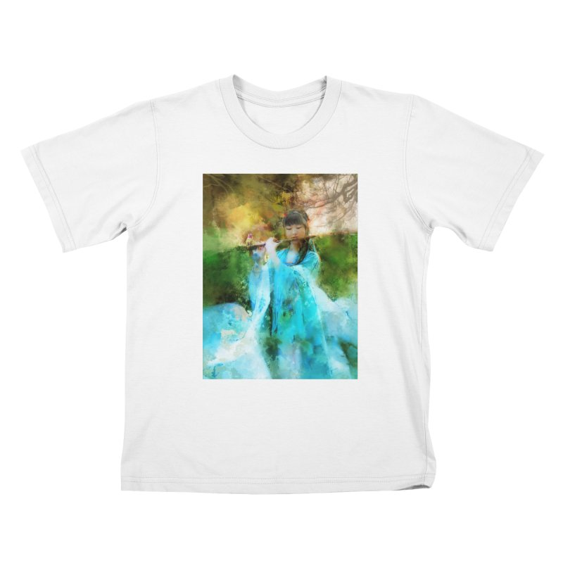 Hui Zi plays flute for the Super Being of mercy and grace Kids T-Shirt by Draw Juice Custom Art Prints