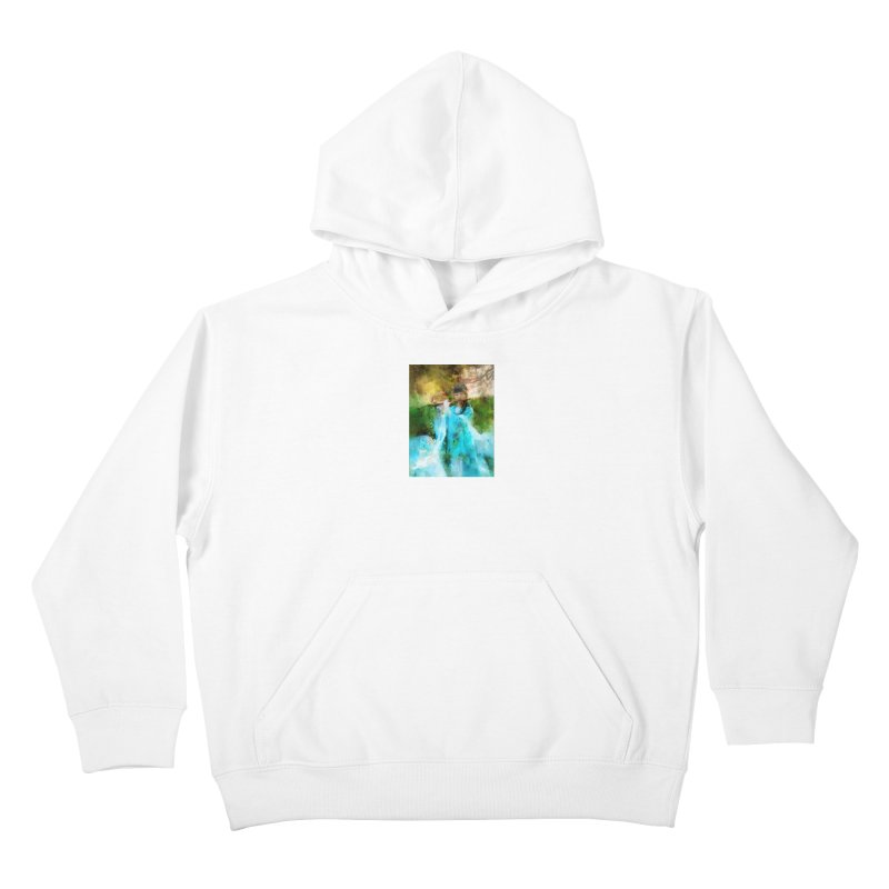 Hui Zi plays flute for the Super Being of mercy and grace Kids Pullover Hoody by Draw Juice Custom Art Prints