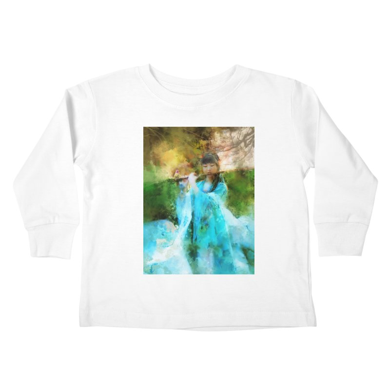 Hui Zi plays flute for the Super Being of mercy and grace Kids Toddler Longsleeve T-Shirt by Draw Juice Custom Art Prints