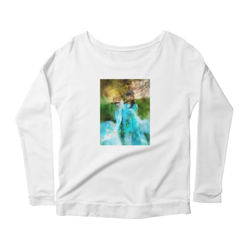 Hui Zi plays flute for the Super Being of mercy and grace Women's Longsleeve T-Shirt by Draw Juice Custom Art Prints