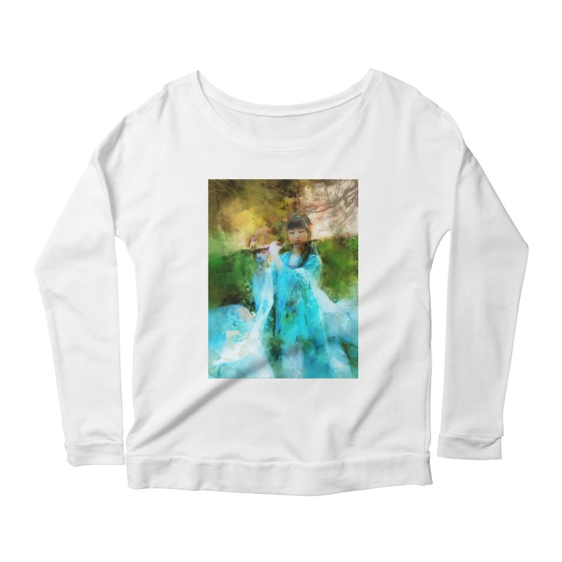 Hui Zi plays flute for the Super Being of mercy and grace Women's Scoop Neck Longsleeve T-Shirt by Draw Juice Custom Art Prints