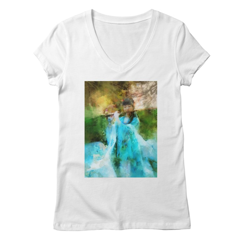 Hui Zi plays flute for the Super Being of mercy and grace Women's Regular V-Neck by Draw Juice Custom Art Prints