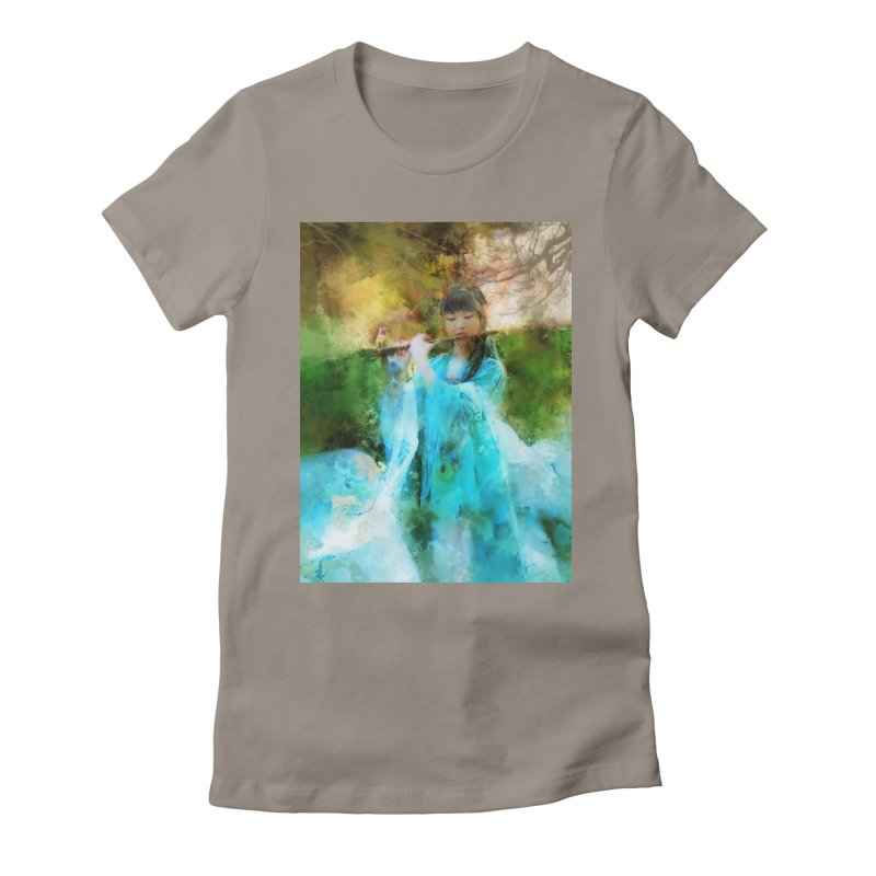 Hui Zi plays flute for the Super Being of mercy and grace Women's Fitted T-Shirt by Draw Juice Custom Art Prints