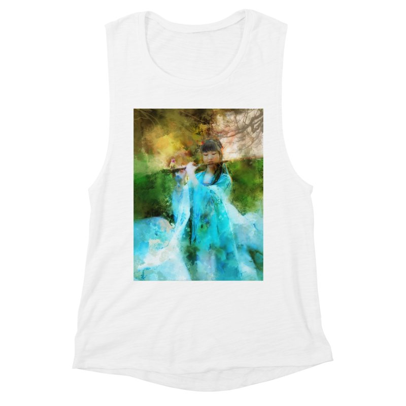 Hui Zi plays flute for the Super Being of mercy and grace Women's Muscle Tank by Draw Juice Custom Art Prints