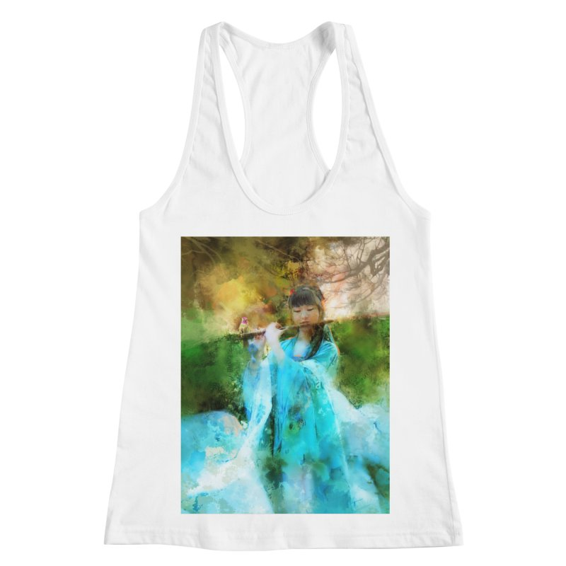 Hui Zi plays flute for the Super Being of mercy and grace Women's Racerback Tank by Draw Juice Custom Art Prints