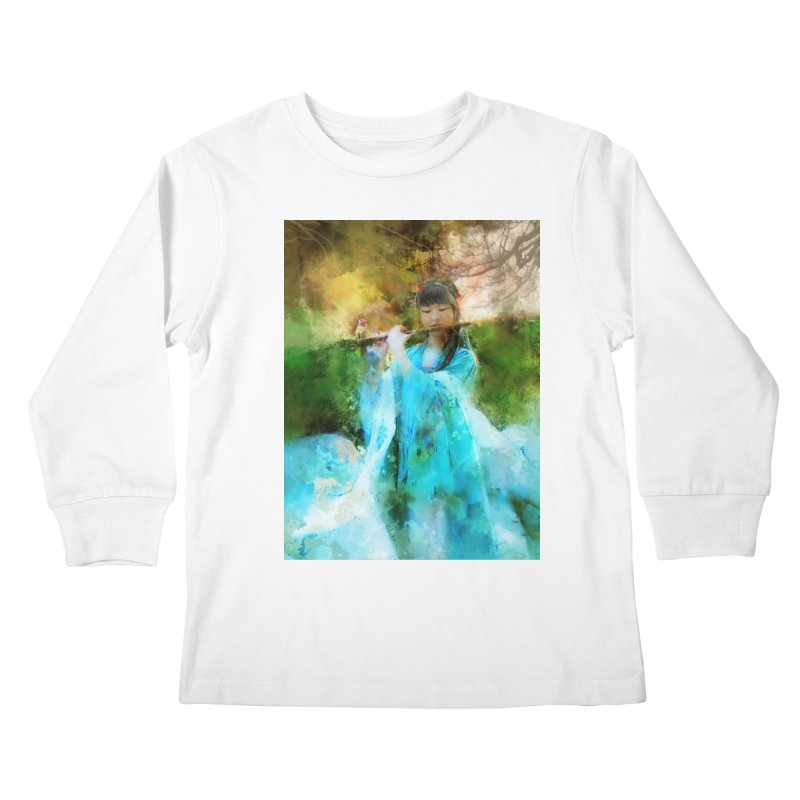 Hui Zi plays flute for the Super Being of mercy and grace Kids Longsleeve T-Shirt by Draw Juice Custom Art Prints