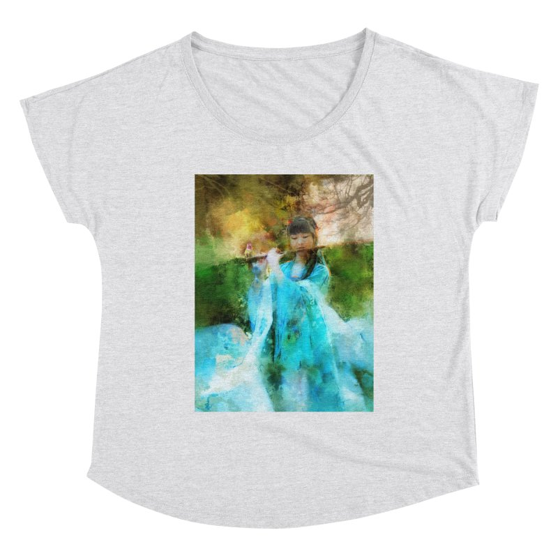 Hui Zi plays flute for the Super Being of mercy and grace Women's Scoop Neck by Draw Juice Custom Art Prints