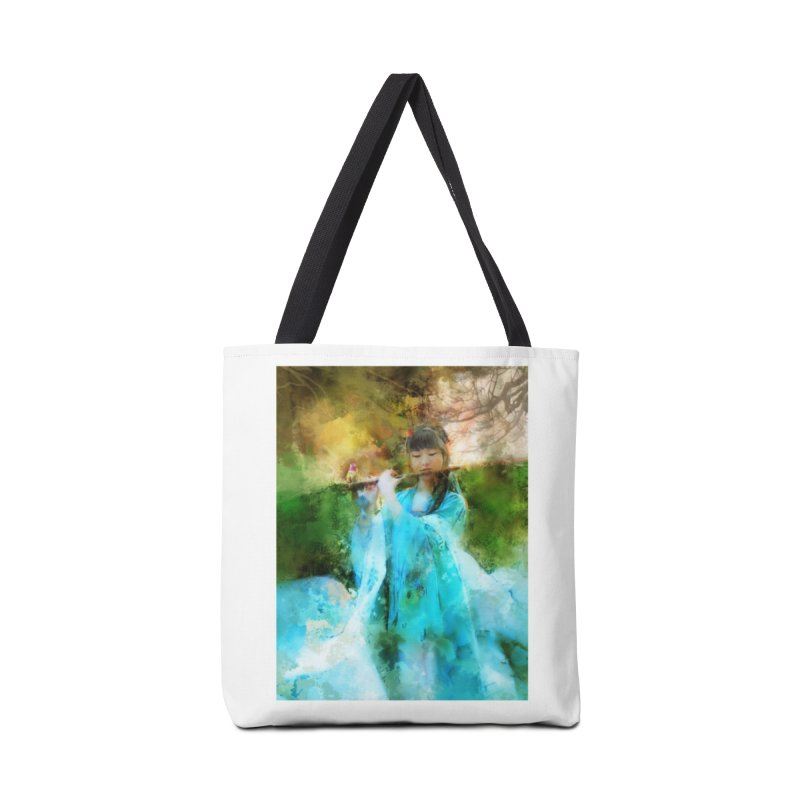 Hui Zi plays flute for the Super Being of mercy and grace Accessories Tote Bag Bag by Draw Juice Custom Art Prints