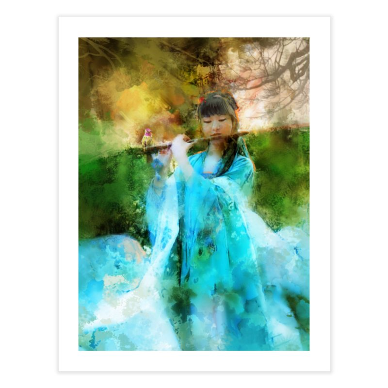 Hui Zi plays flute for the Super Being of mercy and grace Home Fine Art Print by Draw Juice Custom Art Prints