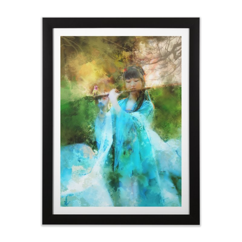 Hui Zi plays flute for the Super Being of mercy and grace Home Framed Fine Art Print by Draw Juice Custom Art Prints