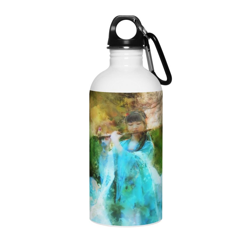 Hui Zi plays flute for the Super Being of mercy and grace Accessories Water Bottle by Draw Juice Custom Art Prints