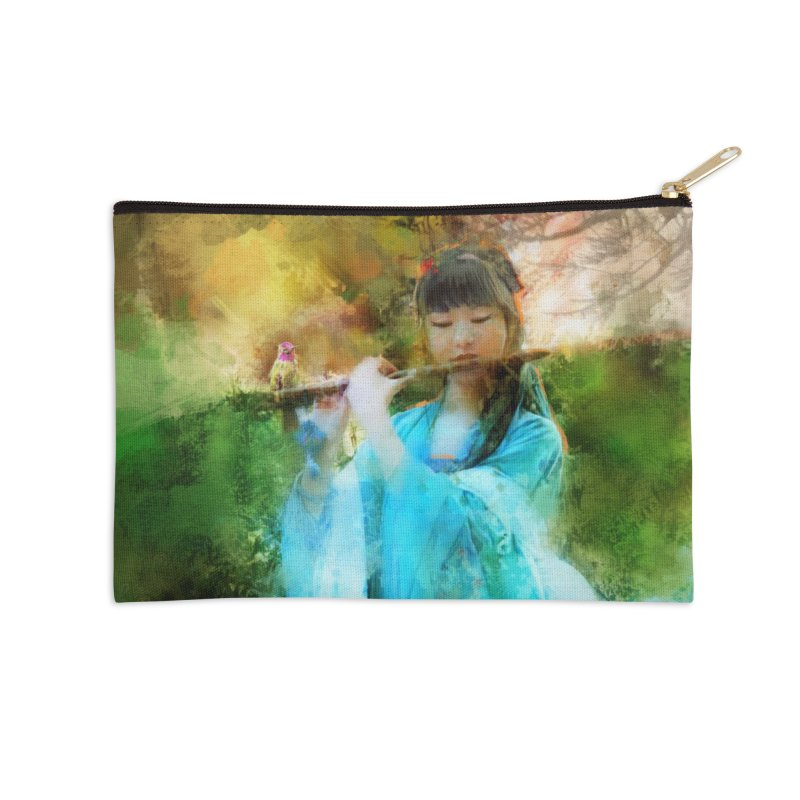 Hui Zi plays flute for the Super Being of mercy and grace Accessories Zip Pouch by Draw Juice Custom Art Prints