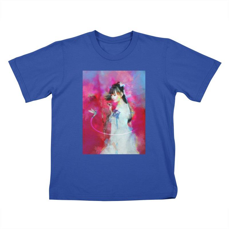 Hui Zi at the Red Door Kids T-Shirt by Draw Juice Custom Art Prints