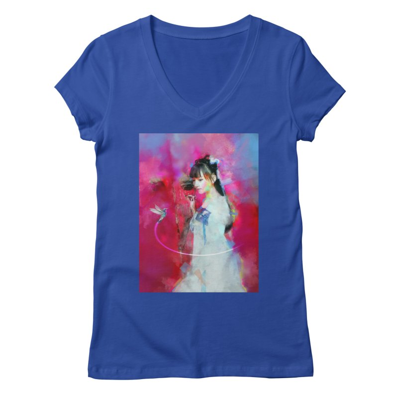 Hui Zi at the Red Door Women's Regular V-Neck by Draw Juice Custom Art Prints