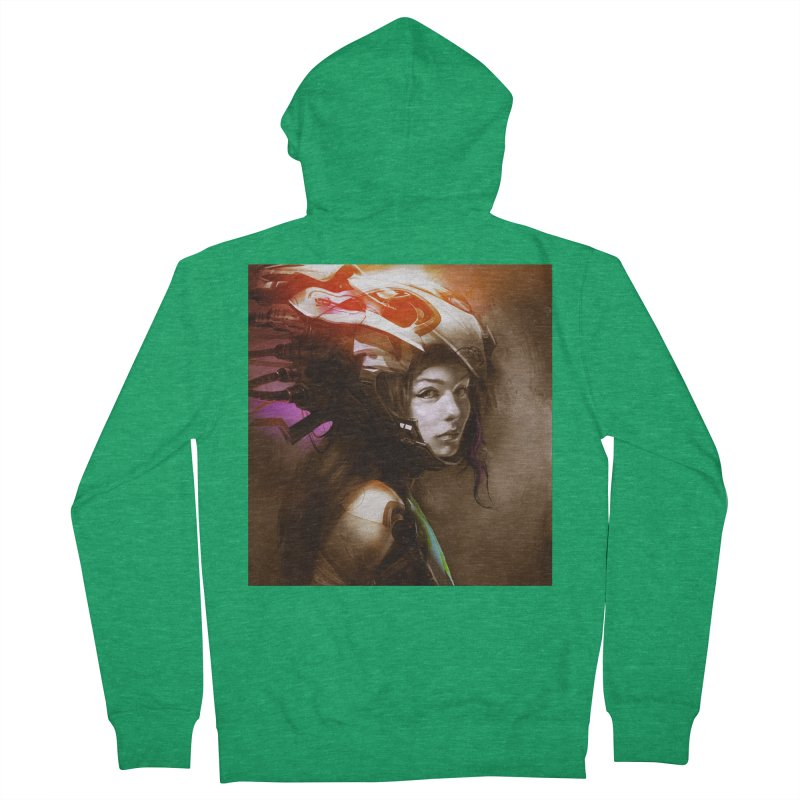 Hooked Up Women's French Terry Zip-Up Hoody by Draw Juice Custom Art Prints