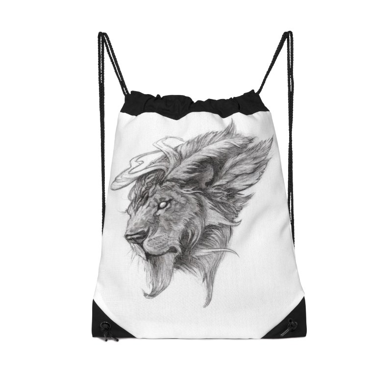 He isn't safe, but, he's good Accessories Drawstring Bag Bag by Draw Juice Custom Art Prints