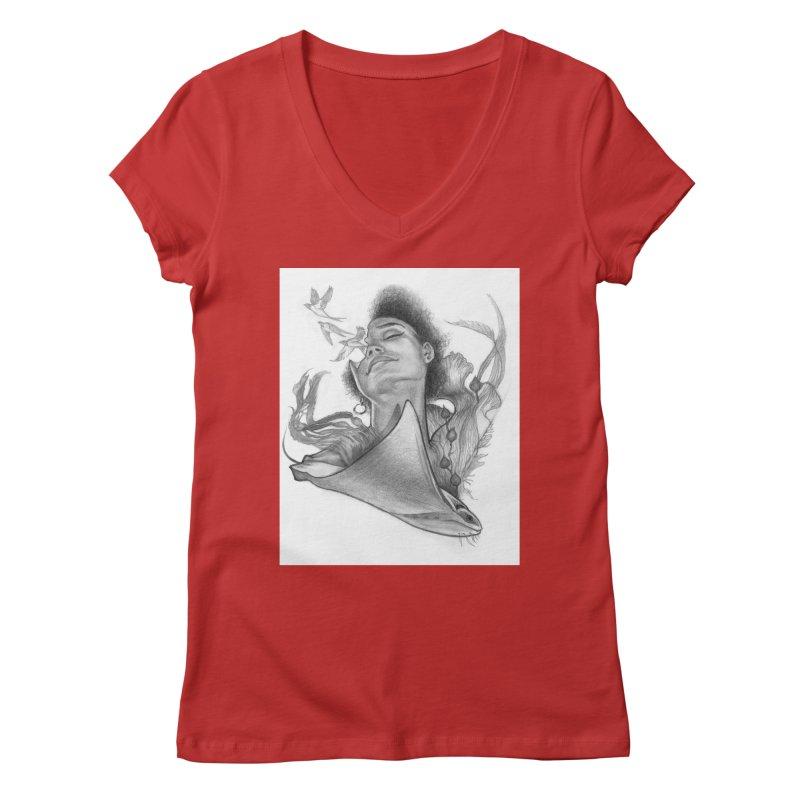 Kelp Dream Women's V-Neck by Draw Juice Custom Art Prints