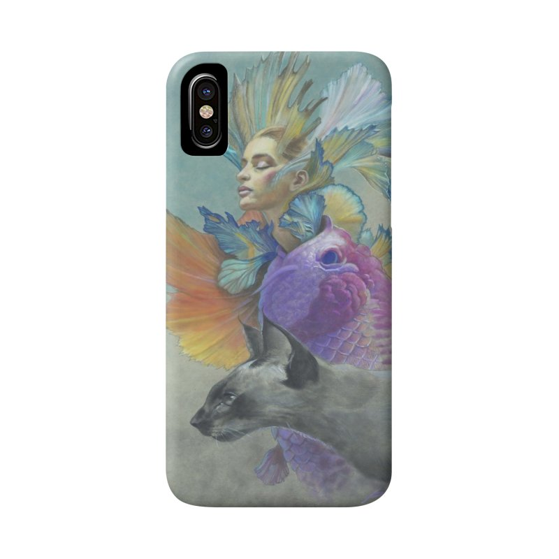 Girl Kat Fish Accessories Phone Case by Draw Juice Custom Art Prints