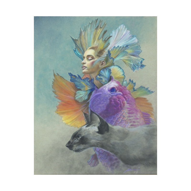 Girl Kat Fish by Draw Juice Custom Art Prints