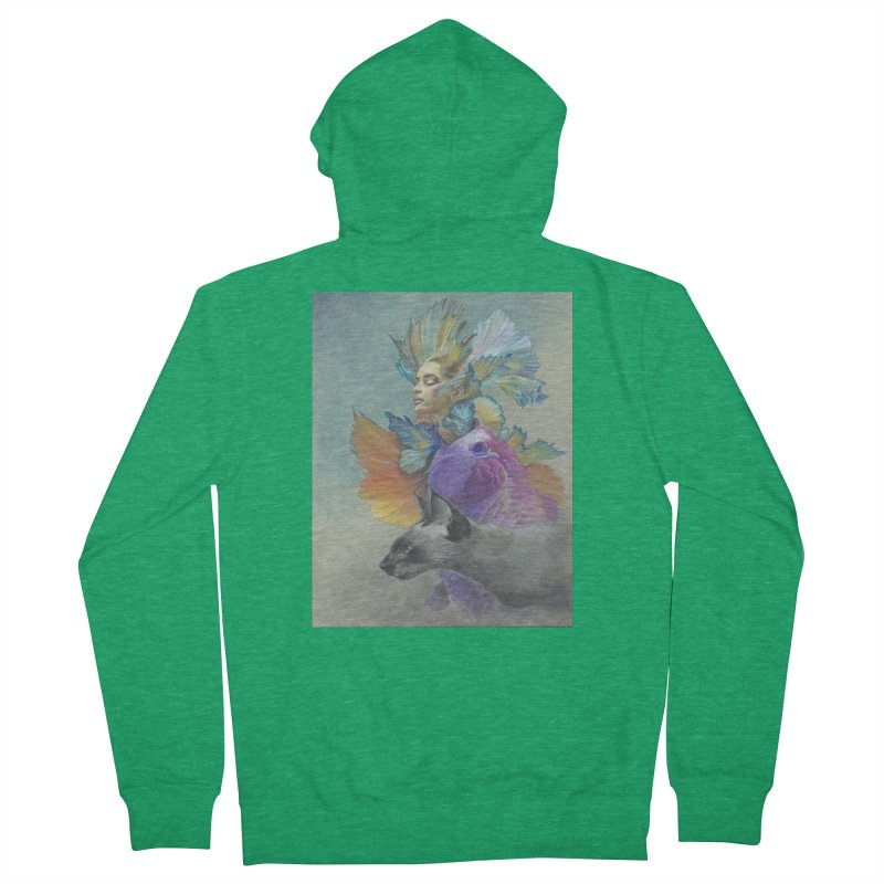 Girl Kat Fish Women's Zip-Up Hoody by Draw Juice Custom Art Prints