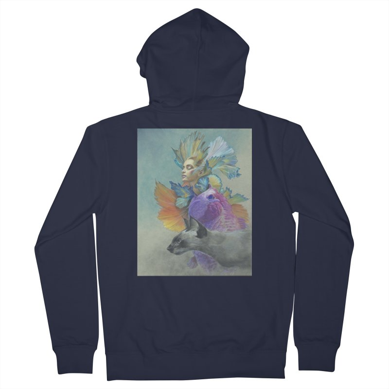 Girl Kat Fish Women's French Terry Zip-Up Hoody by Draw Juice Custom Art Prints