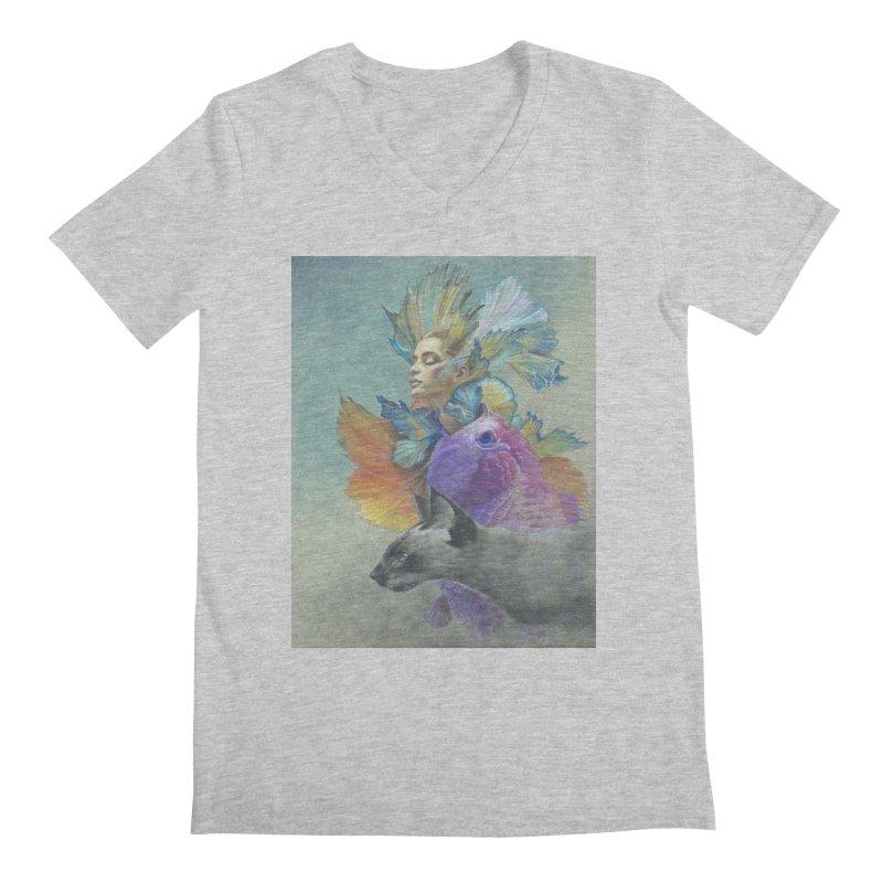 Girl Kat Fish Men's Regular V-Neck by Draw Juice Custom Art Prints
