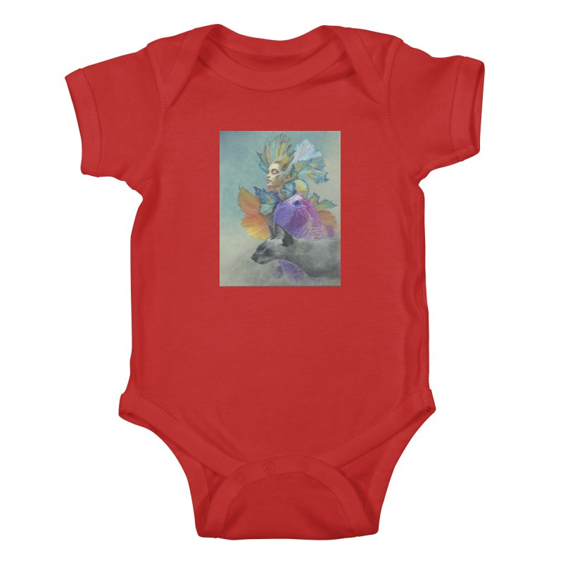 Girl Kat Fish Kids Baby Bodysuit by Draw Juice Custom Art Prints