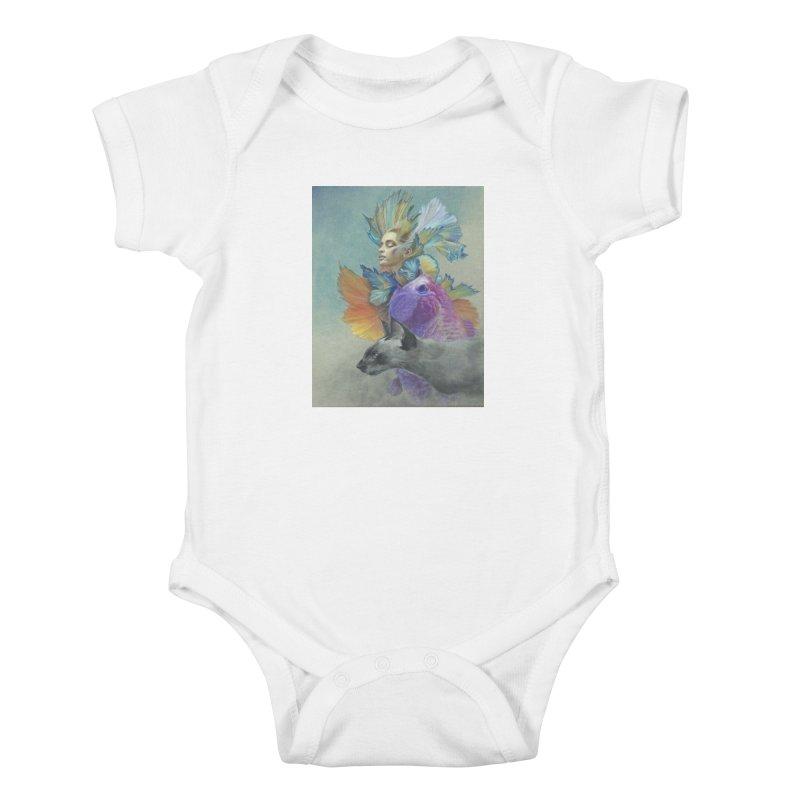 Girl Kat Fish Kids Baby Bodysuit by Draw Juice Custom Art Prints