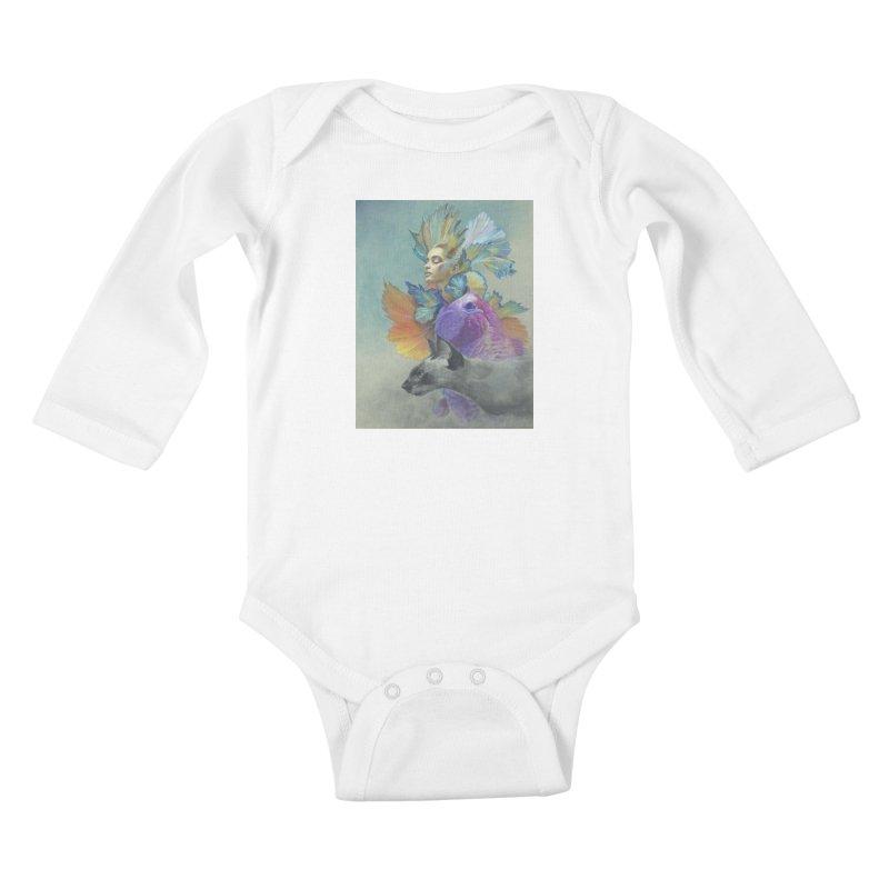 Girl Kat Fish Kids Baby Longsleeve Bodysuit by Draw Juice Custom Art Prints
