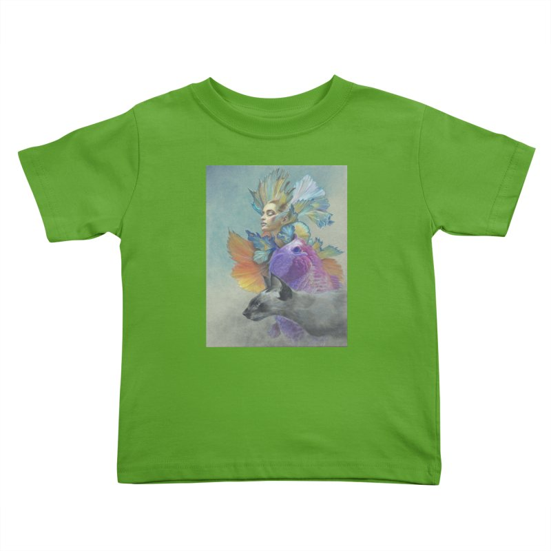 Girl Kat Fish Kids Toddler T-Shirt by Draw Juice Custom Art Prints