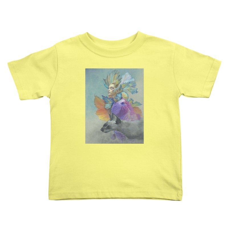 Girl Kat Fish Kids Toddler T-Shirt by Draw Juice Custom Art Prints