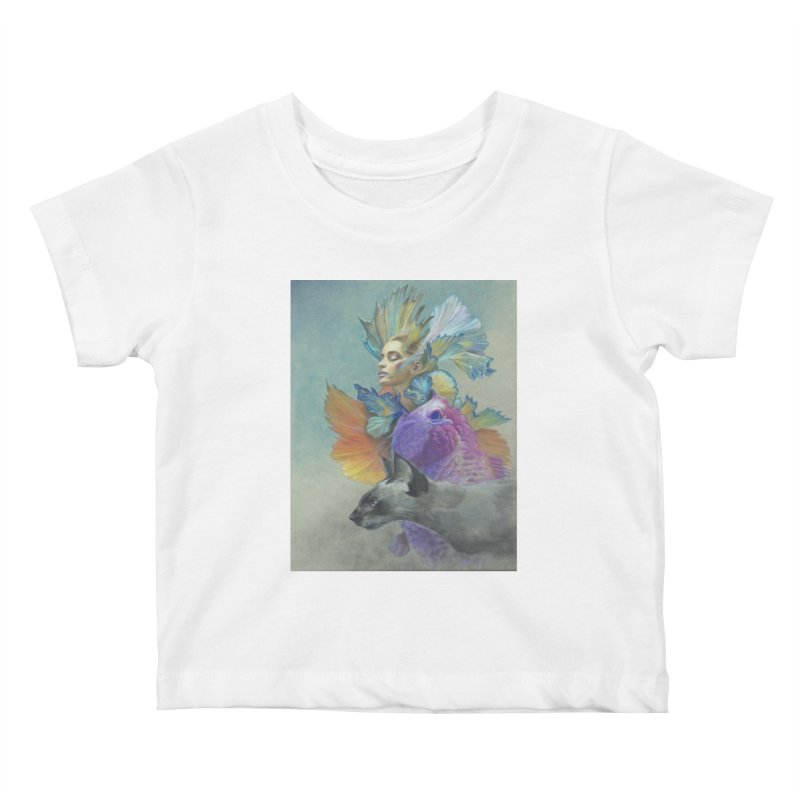 Girl Kat Fish Kids Baby T-Shirt by Draw Juice Custom Art Prints