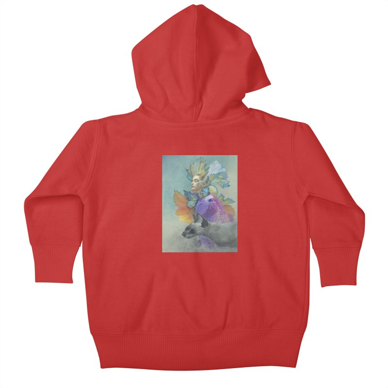 Girl Kat Fish Kids Baby Zip-Up Hoody by Draw Juice Custom Art Prints