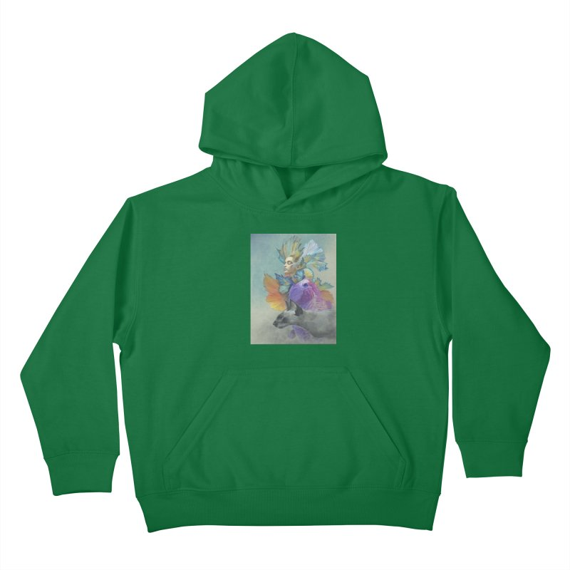 Girl Kat Fish Kids Pullover Hoody by Draw Juice Custom Art Prints